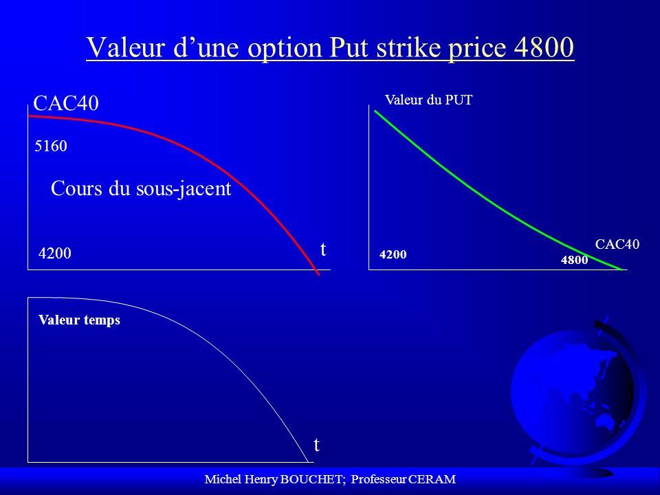Michel Henry BOUCHET; Professeur CERAM Valeur dune option Put strike price 4800 t CAC40 Cours du sous-jacent 5160 4200 CAC40 Valeur du PUT 4200 4800 V