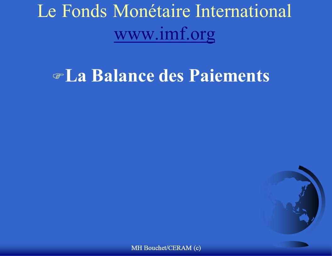 MH Bouchet/CERAM (c) Le Fonds Monétaire International www.imf.org www.imf.org F La Balance des Paiements