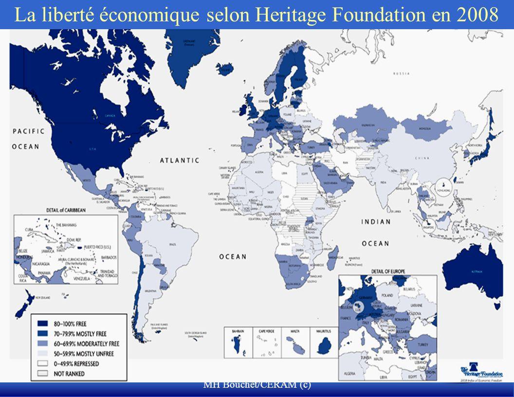 MH Bouchet/CERAM (c) La liberté économique selon Heritage Foundation en 2008