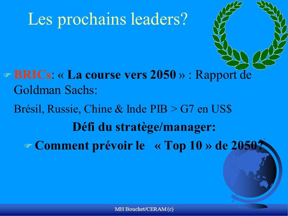 MH Bouchet/CERAM (c) Les prochains leaders? F BRICs: « La course vers 2050 » : Rapport de Goldman Sachs: Brésil, Russie, Chine & Inde PIB > G7 en US$