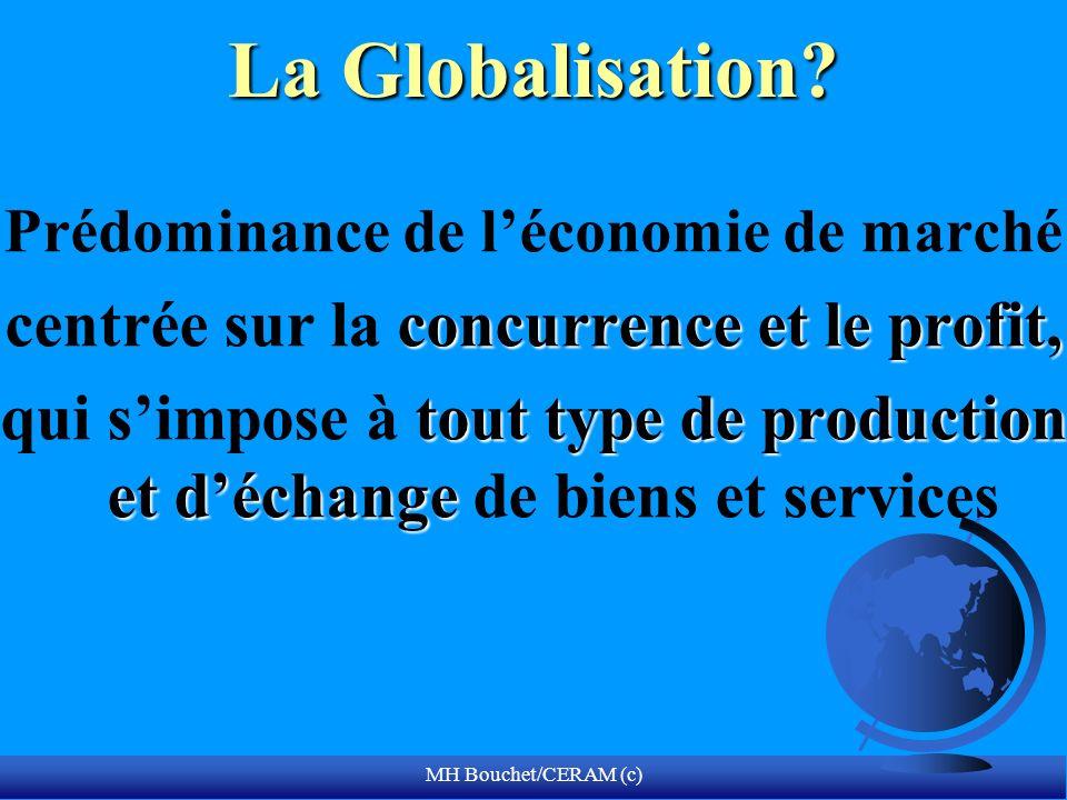 MH Bouchet/CERAM (c) La Globalisation? Prédominance de léconomie de marché concurrence et le profit, centrée sur la concurrence et le profit, tout typ