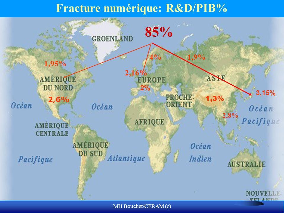 MH Bouchet/CERAM (c) Fracture numérique: R&D/PIB% 85% 2% 3,15% 2,6% 1,3% 2,8% 4%1,9% 1,95% 2,16%