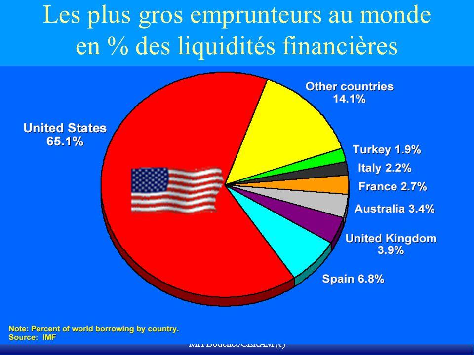 MH Bouchet/CERAM (c) Les plus gros emprunteurs au monde en % des liquidités financières disponibles totales