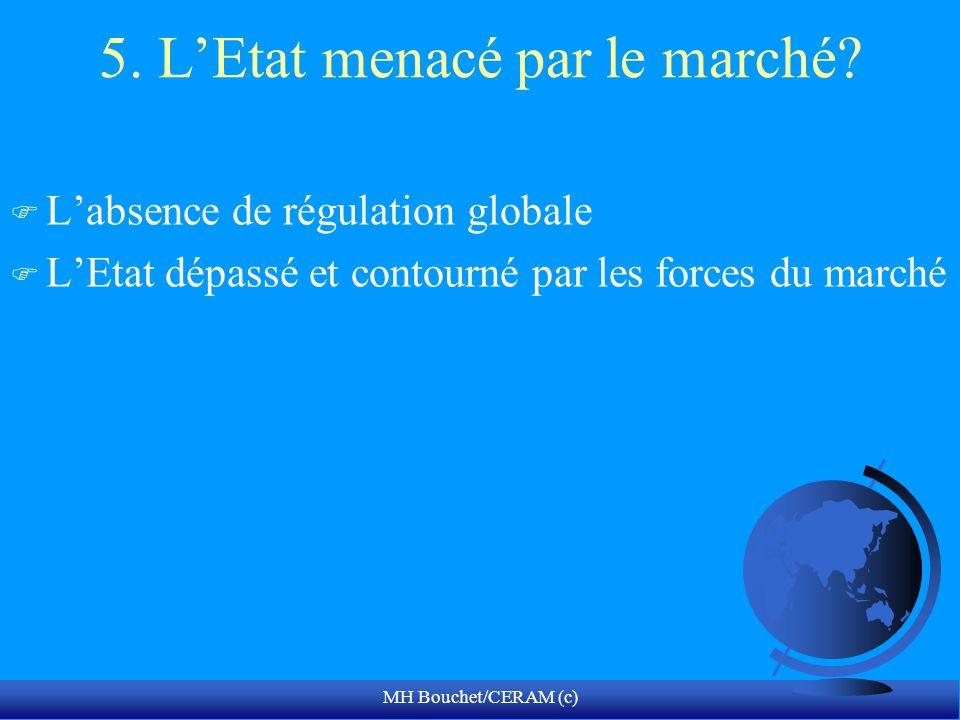 MH Bouchet/CERAM (c) 5. LEtat menacé par le marché? F Labsence de régulation globale F LEtat dépassé et contourné par les forces du marché
