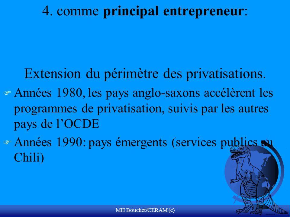 MH Bouchet/CERAM (c) 4. comme principal entrepreneur: Extension du périmètre des privatisations. F Années 1980, les pays anglo-saxons accélèrent les p