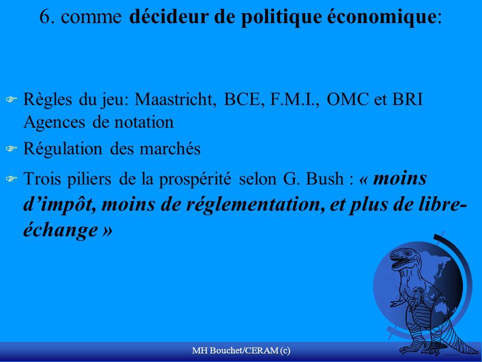 MH Bouchet/CERAM (c) 6. comme décideur de politique économique: F Règles du jeu: Maastricht, BCE, F.M.I., OMC et BRI Agences de notation F Régulation