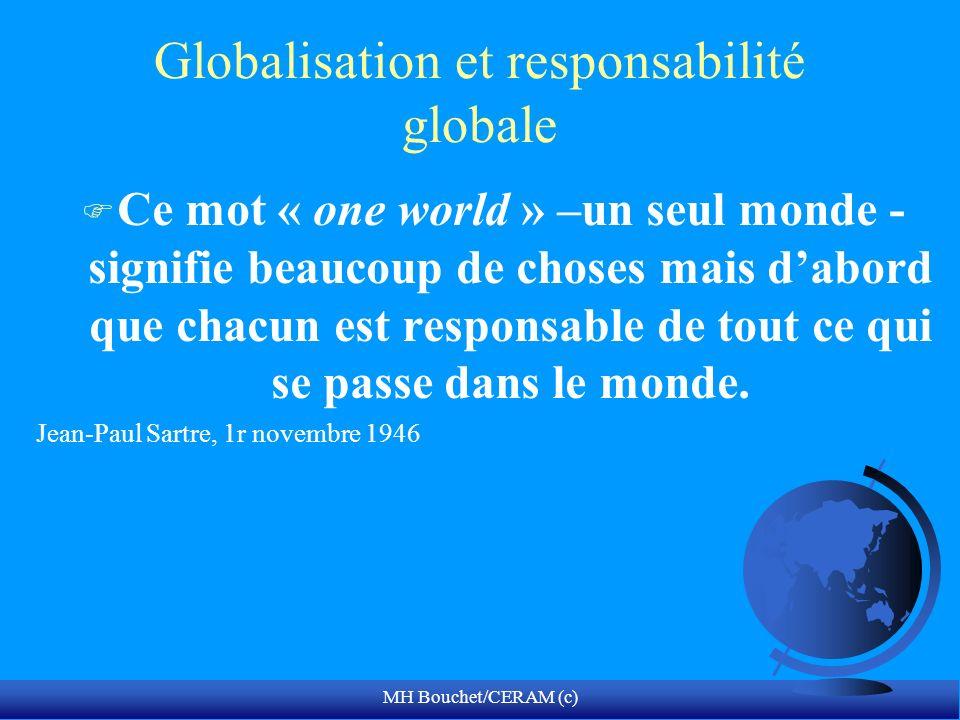 MH Bouchet/CERAM (c) Globalisation et responsabilité globale F Ce mot « one world » –un seul monde - signifie beaucoup de choses mais dabord que chacu