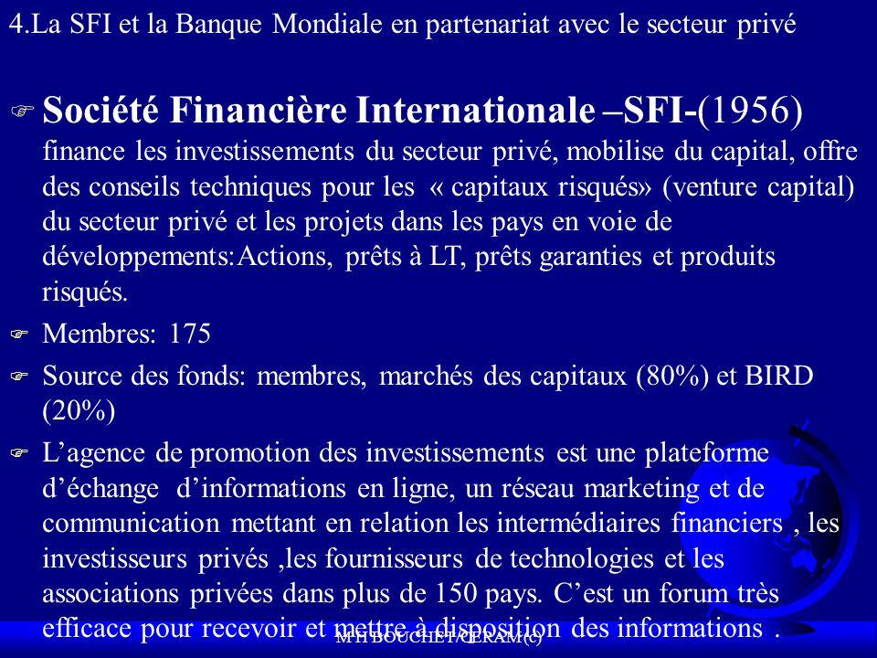 M H BOUCHET/CERAM (c) F Société Financière Internationale –SFI-(1956) finance les investissements du secteur privé, mobilise du capital, offre des conseils techniques pour les « capitaux risqués» (venture capital) du secteur privé et les projets dans les pays en voie de développements:Actions, prêts à LT, prêts garanties et produits risqués.