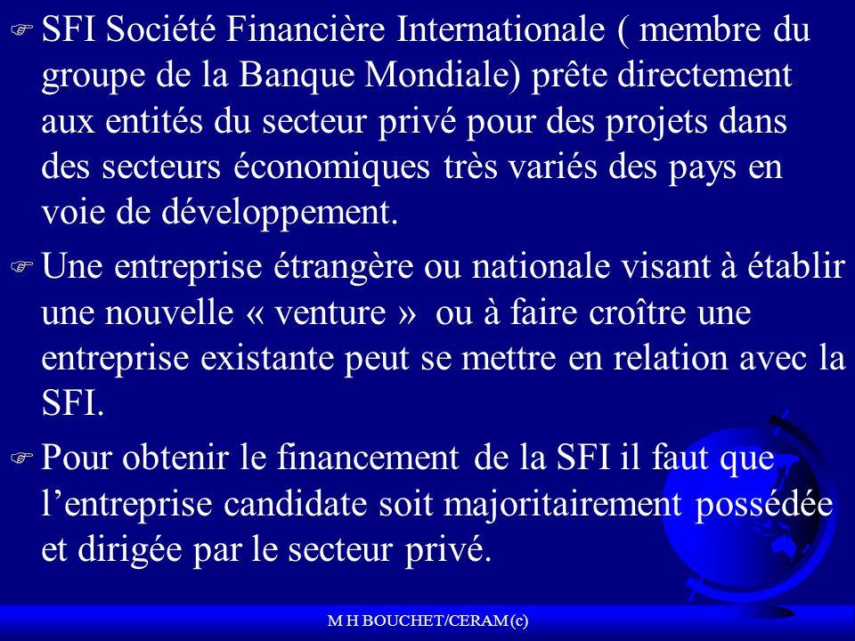 M H BOUCHET/CERAM (c) F SFI Société Financière Internationale ( membre du groupe de la Banque Mondiale) prête directement aux entités du secteur privé pour des projets dans des secteurs économiques très variés des pays en voie de développement.