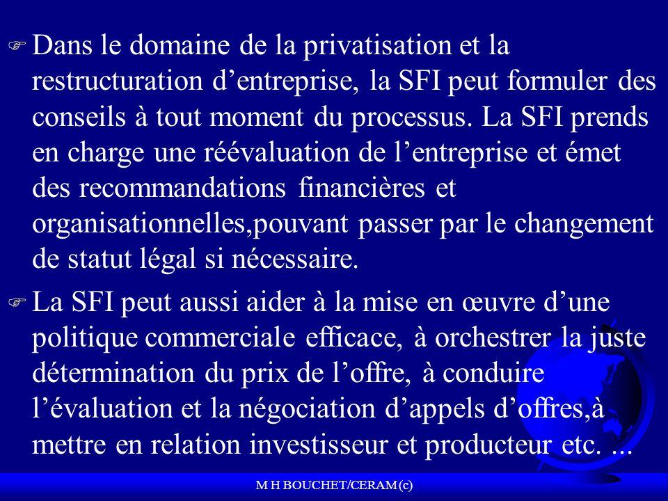 M H BOUCHET/CERAM (c) F Dans le domaine de la privatisation et la restructuration dentreprise, la SFI peut formuler des conseils à tout moment du processus.