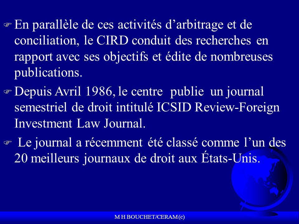 M H BOUCHET/CERAM (c) F En parallèle de ces activités darbitrage et de conciliation, le CIRD conduit des recherches en rapport avec ses objectifs et édite de nombreuses publications.