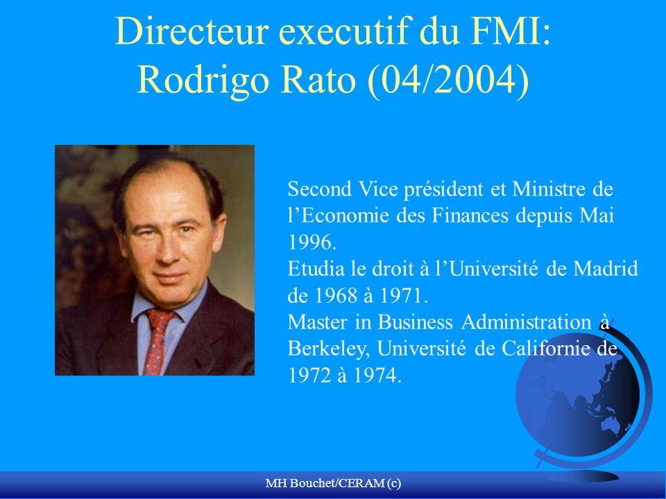 MH Bouchet/CERAM (c) Directeur executif du FMI: Rodrigo Rato (04/2004) Second Vice président et Ministre de lEconomie des Finances depuis Mai 1996.