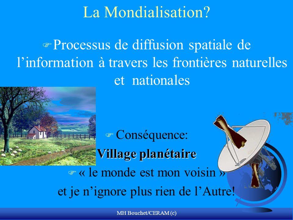 MH Bouchet/CERAM (c) La Mondialisation? F Processus de diffusion spatiale de linformation à travers les frontières naturelles et nationales F Conséque