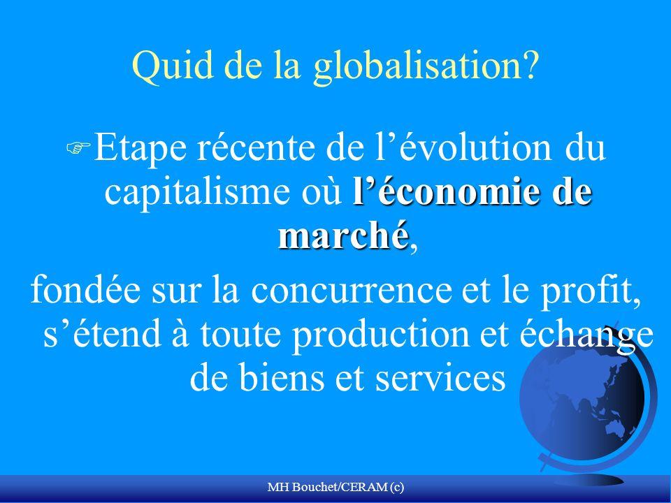 MH Bouchet/CERAM (c) Quid de la globalisation? léconomie de marché F Etape récente de lévolution du capitalisme où léconomie de marché, fondée sur la