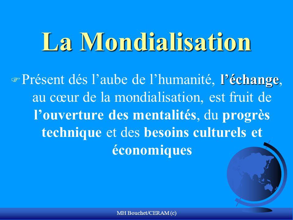 MH Bouchet/CERAM (c) La Mondialisation léchange F Présent dés laube de lhumanité, léchange, au cœur de la mondialisation, est fruit de louverture des