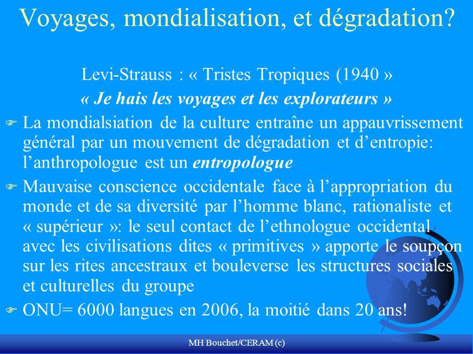 MH Bouchet/CERAM (c) Voyages, mondialisation, et dégradation? Levi-Strauss : « Tristes Tropiques (1940 » « Je hais les voyages et les explorateurs » F