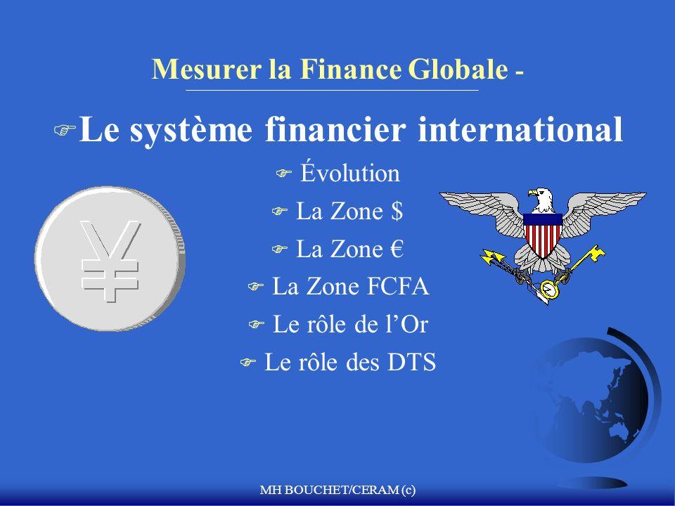 MH BOUCHET/CERAM (c) Mesurer la Finance Globale - F Le système financier international F Évolution F La Zone $ F La Zone F La Zone FCFA F Le rôle de l