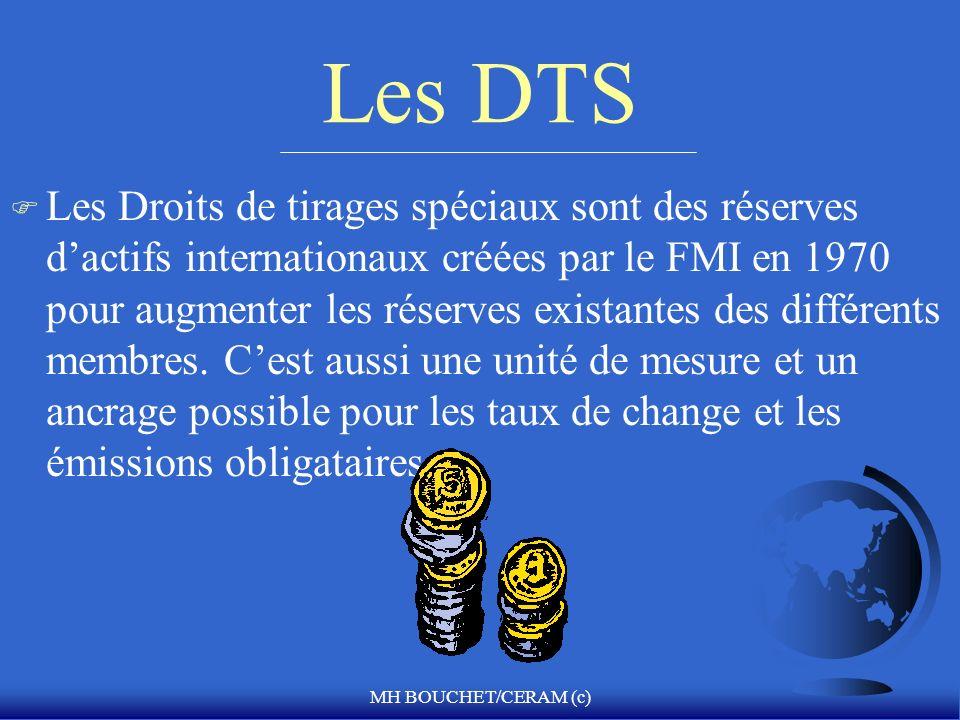 MH BOUCHET/CERAM (c) Les DTS F Les Droits de tirages spéciaux sont des réserves dactifs internationaux créées par le FMI en 1970 pour augmenter les ré