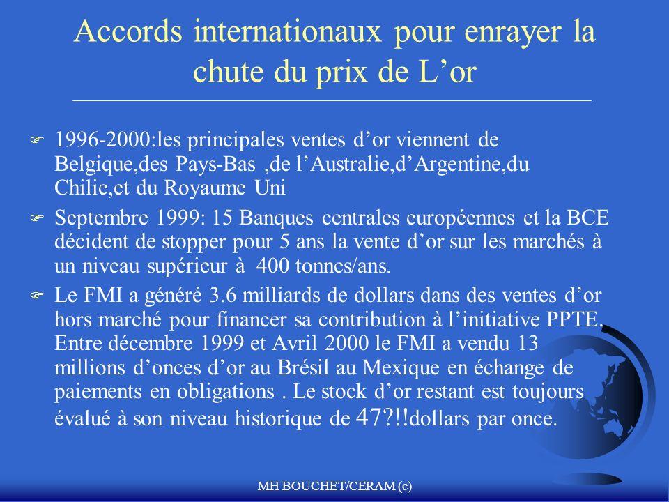 MH BOUCHET/CERAM (c) Accords internationaux pour enrayer la chute du prix de Lor F 1996-2000:les principales ventes dor viennent de Belgique,des Pays-