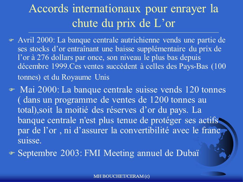 MH BOUCHET/CERAM (c) Accords internationaux pour enrayer la chute du prix de Lor F Avril 2000: La banque centrale autrichienne vends une partie de ses