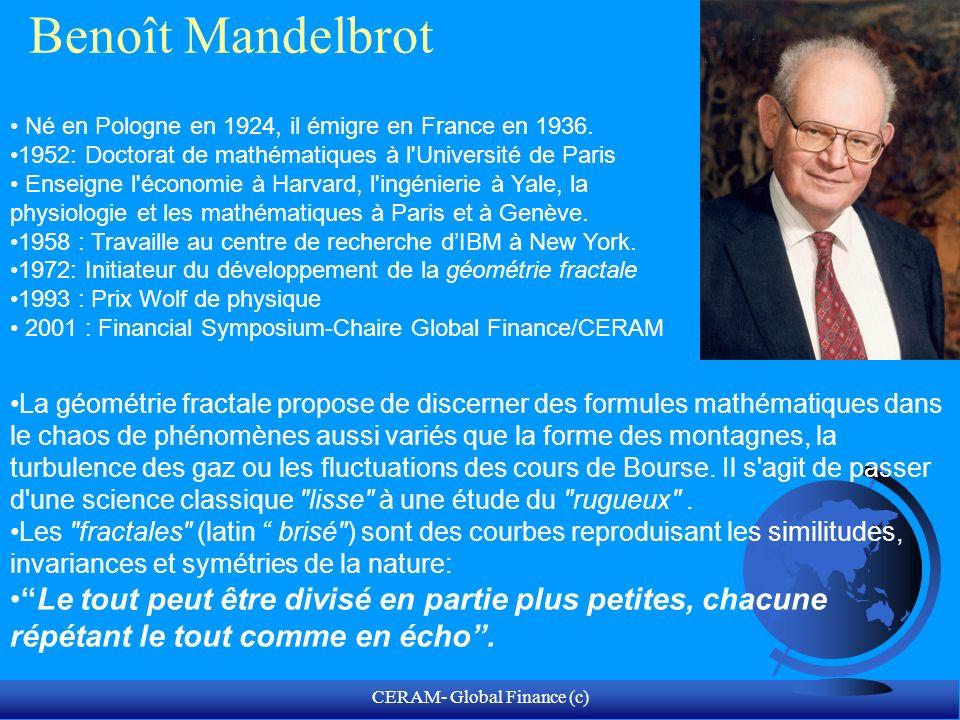 CERAM- Global Finance (c) Les fondements de lanalyse des risques selon Mandelbrot 3 modes dévaluation du risque: F Analyse fondamentale: approche déterministe: pourquoi.