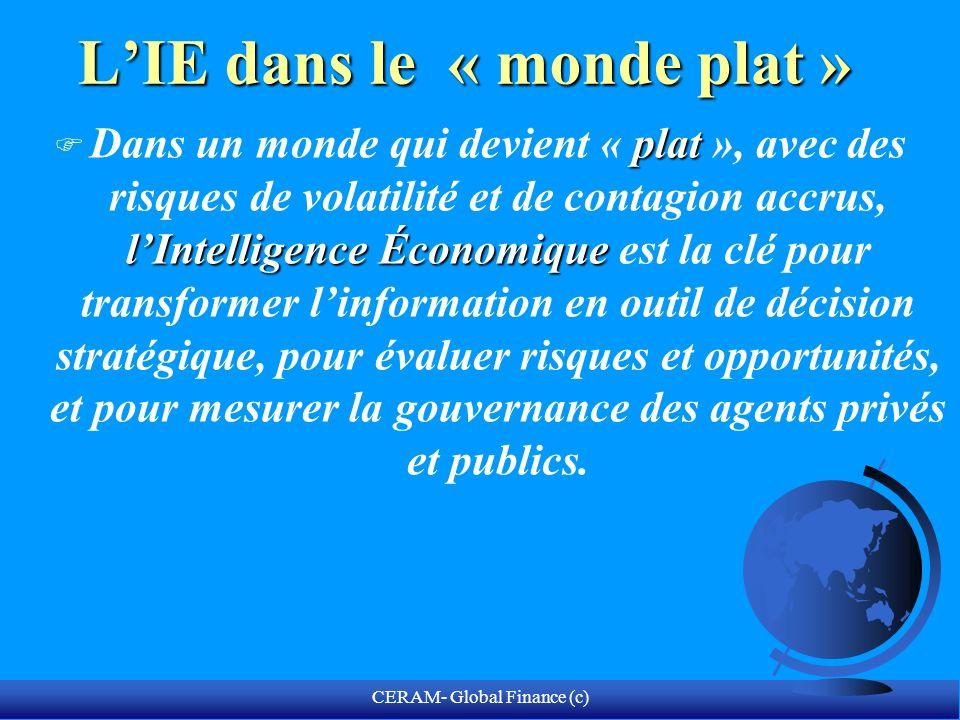 CERAM- Global Finance (c) LIE dans le « monde plat » plat lIntelligence Économique F Dans un monde qui devient « plat », avec des risques de volatilit