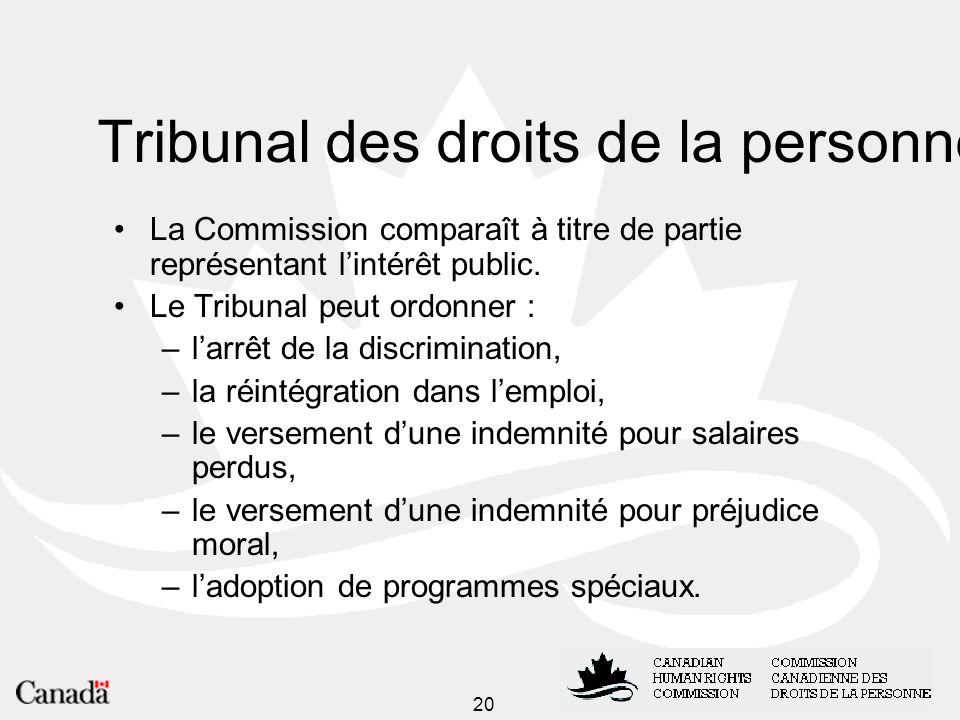 20 Tribunal des droits de la personne La Commission comparaît à titre de partie représentant lintérêt public.