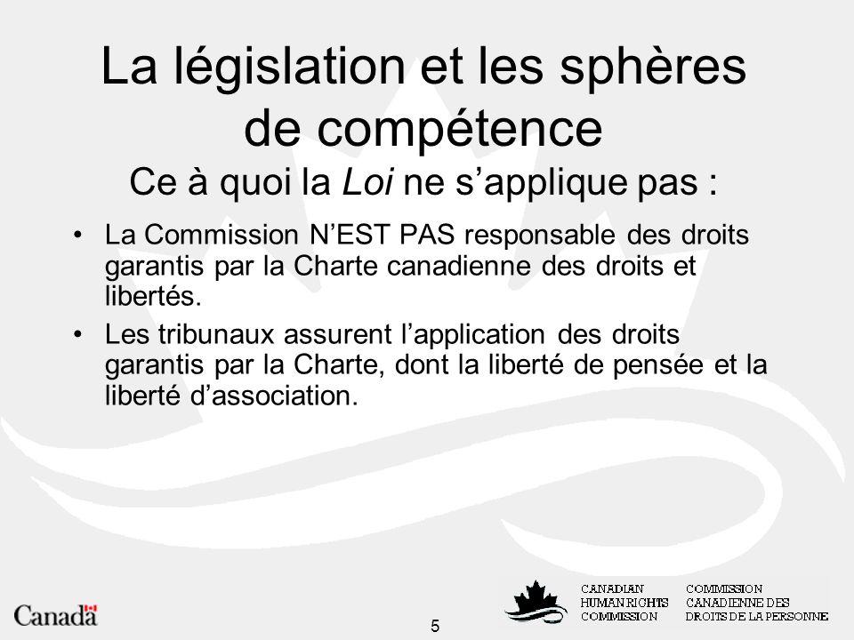5 La législation et les sphères de compétence Ce à quoi la Loi ne sapplique pas : La Commission NEST PAS responsable des droits garantis par la Charte canadienne des droits et libertés.