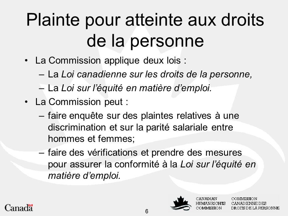 7 Plainte pour atteinte aux droits de la personne Déposer une plainte Si vous estimez que vos droits ont été enfreints pour un motif de distinction illicite, vous pouvez déposer une plainte en vertu de la Loi canadienne sur les droits de la personne.