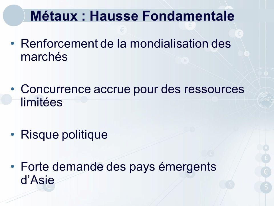 Métaux : Hausse Fondamentale Renforcement de la mondialisation des marchés Concurrence accrue pour des ressources limitées Risque politique Forte dema
