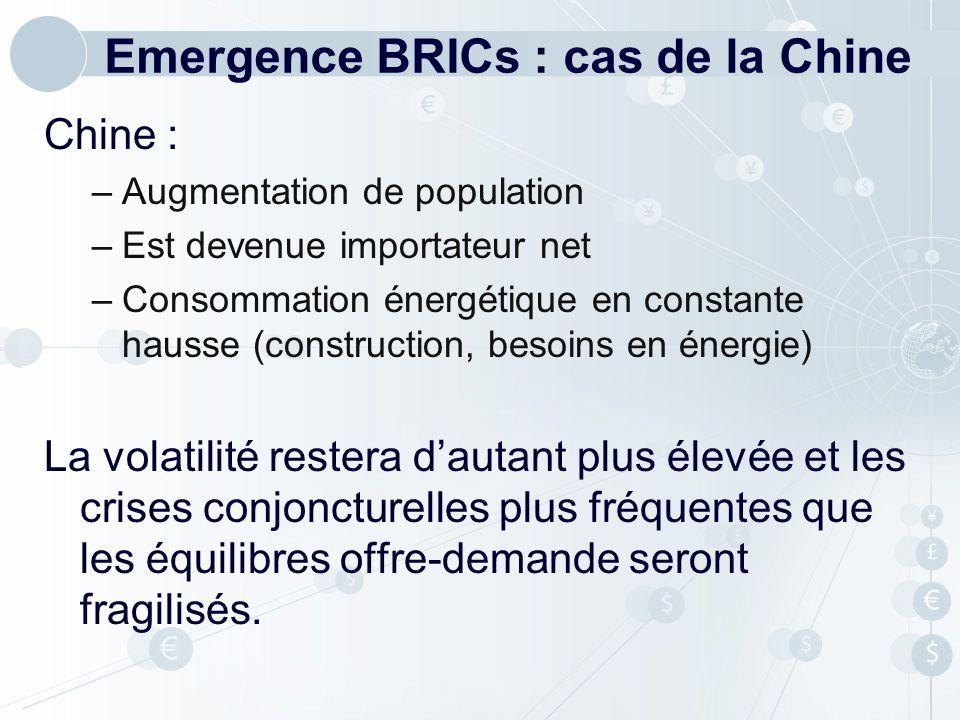 Emergence BRICs : cas de la Chine Chine : –Augmentation de population –Est devenue importateur net –Consommation énergétique en constante hausse (cons