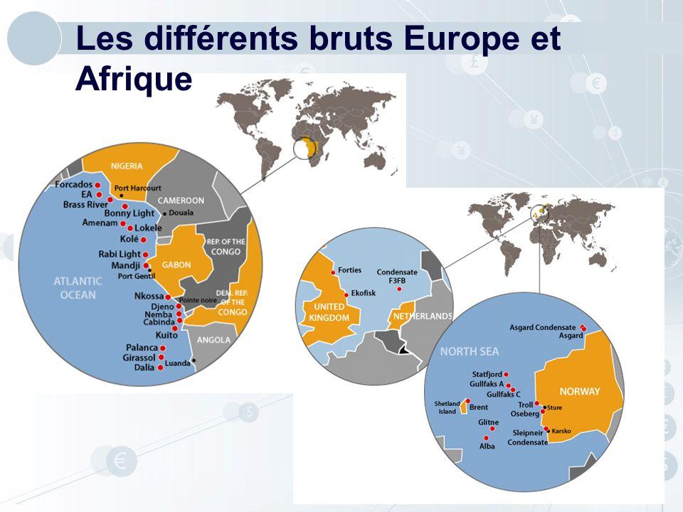 CapacitéConsommation Amérique Latine Afrique Proche-Orient Europe Occidentale Europe Orientale Amérique du Nord Extrême Orient Océanie 9571045 - 88 415311 + 104 162129 + 33 750777 - 27 352271 + 81 512186 + 326 11101117 - 7 Total Mondial 42583836 + 422 Il y a donc une nécessité dacheminement du brut Source : Total SA Raffinage mondial 2005 de pétrole brut (Mt/an)