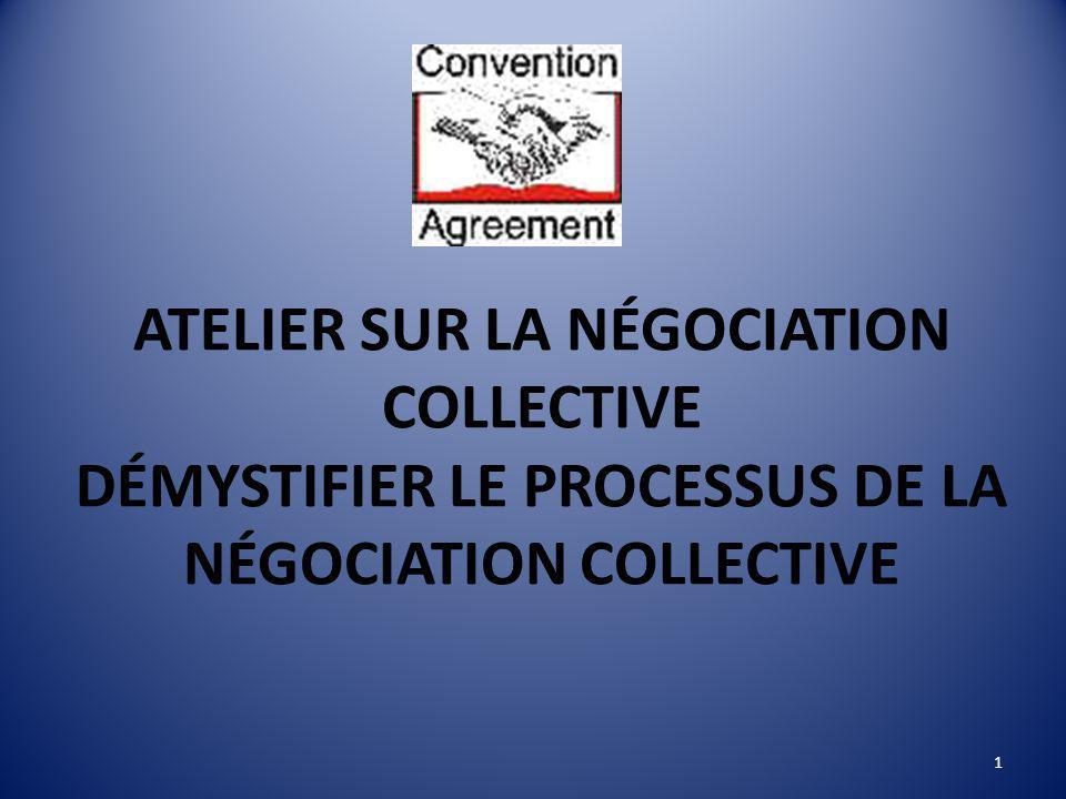 ATELIER SUR LA NÉGOCIATION COLLECTIVE DÉMYSTIFIER LE PROCESSUS DE LA NÉGOCIATION COLLECTIVE 1