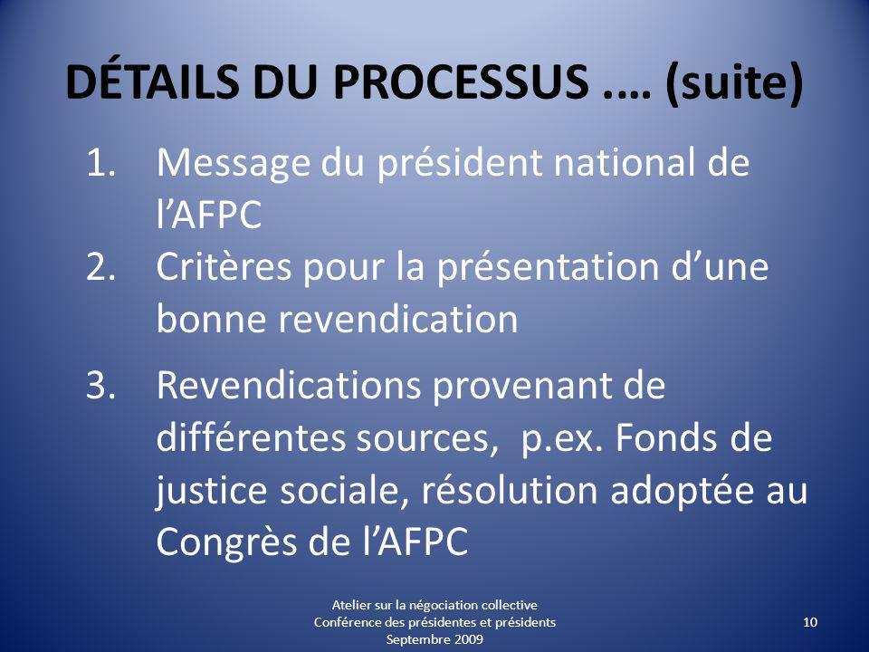 DÉTAILS DU PROCESSUS.… (suite) 1.Message du président national de lAFPC 2.Critères pour la présentation dune bonne revendication 3.Revendications provenant de différentes sources, p.ex.