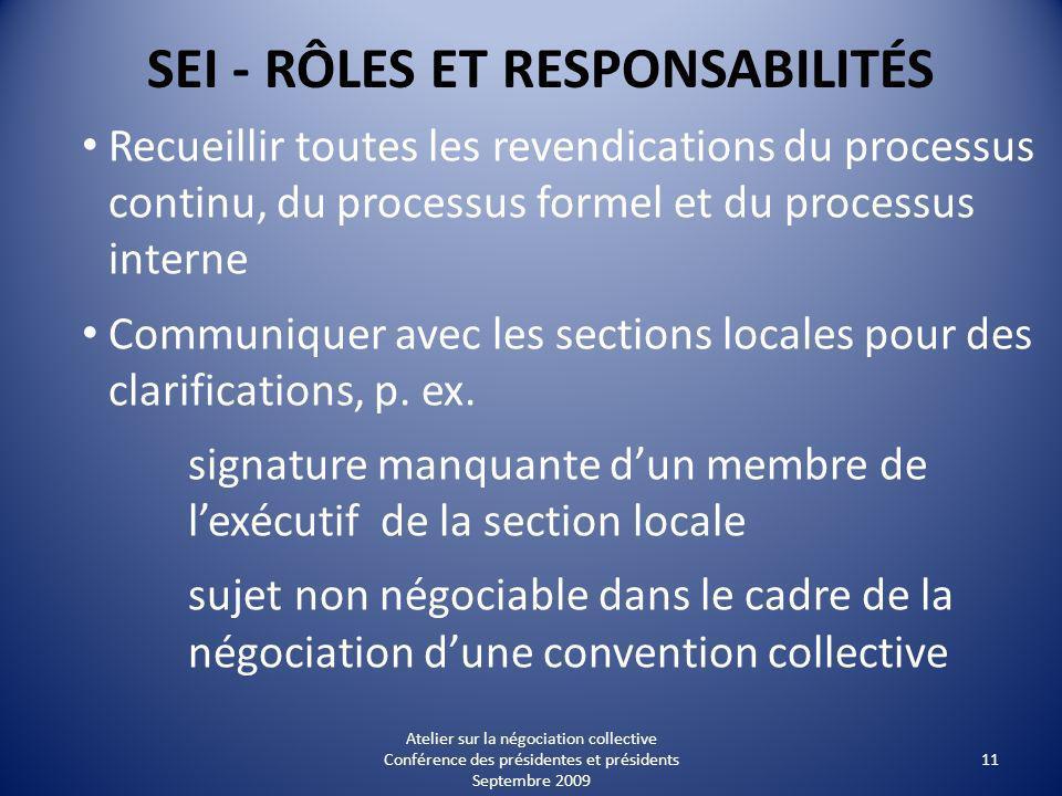 SEI - RÔLES ET RESPONSABILITÉS Recueillir toutes les revendications du processus continu, du processus formel et du processus interne Communiquer avec les sections locales pour des clarifications, p.