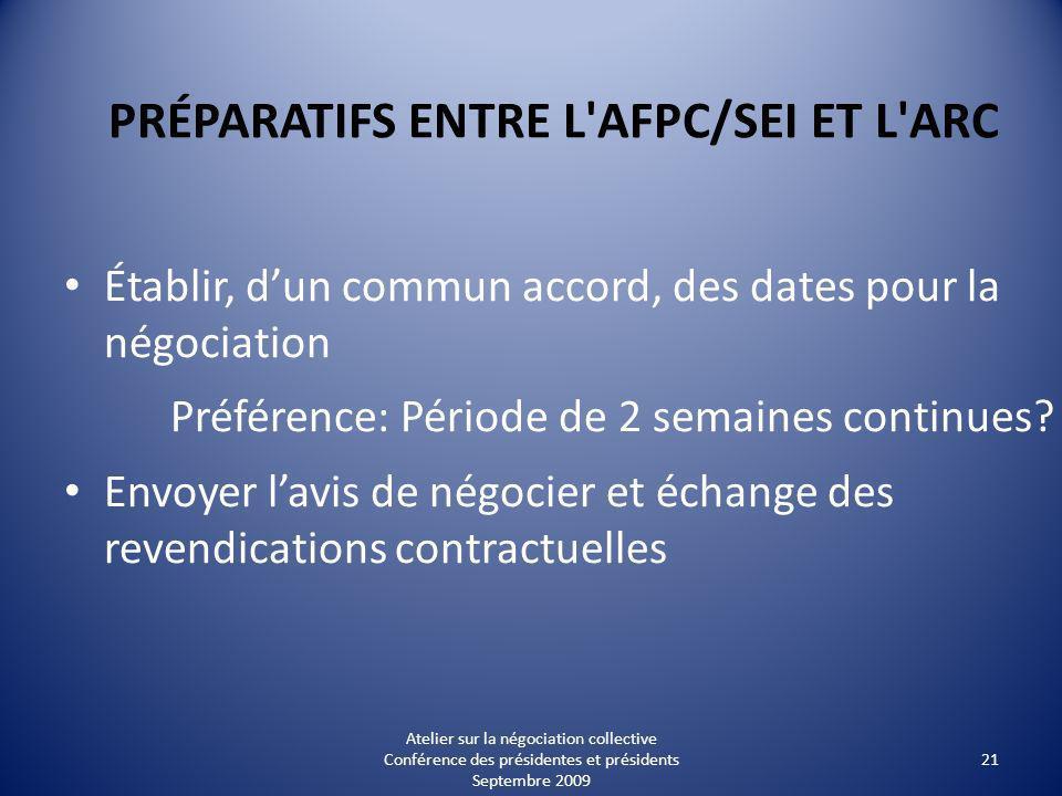 PRÉPARATIFS ENTRE L AFPC/SEI ET L ARC Établir, dun commun accord, des dates pour la négociation Préférence: Période de 2 semaines continues.