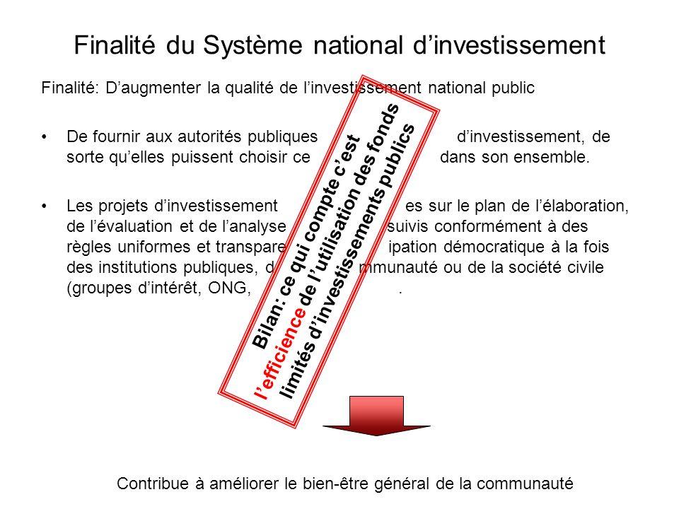 Finalité du Système national dinvestissement Finalité: Daugmenter la qualité de linvestissement national public De fournir aux autorités publiques un projet dinvestissement, de sorte quelles puissent choisir ce pour la socié dans son ensemble.