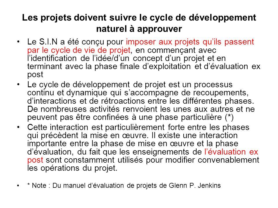 Les projets doivent suivre le cycle de développement naturel à approuver Le S.I.N a été conçu pour imposer aux projets quils passent par le cycle de v