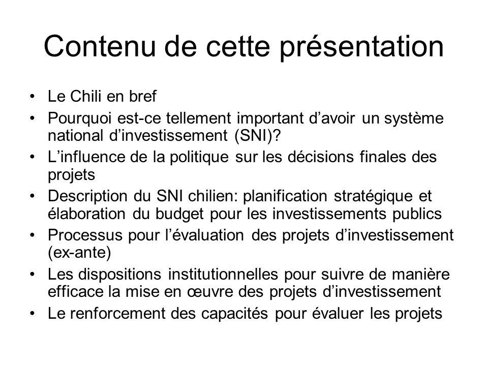 Contenu de cette présentation Le Chili en bref Pourquoi est-ce tellement important davoir un système national dinvestissement (SNI).