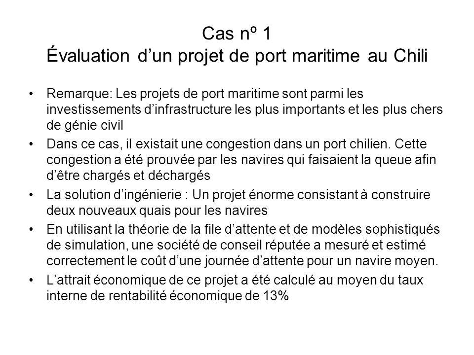 Cas nº 1 Évaluation dun projet de port maritime au Chili Remarque: Les projets de port maritime sont parmi les investissements dinfrastructure les plus importants et les plus chers de génie civil Dans ce cas, il existait une congestion dans un port chilien.