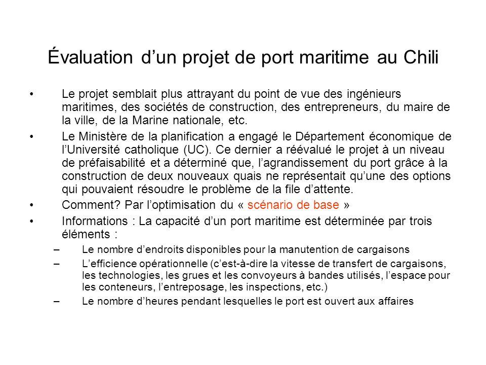 Évaluation dun projet de port maritime au Chili Le projet semblait plus attrayant du point de vue des ingénieurs maritimes, des sociétés de construction, des entrepreneurs, du maire de la ville, de la Marine nationale, etc.