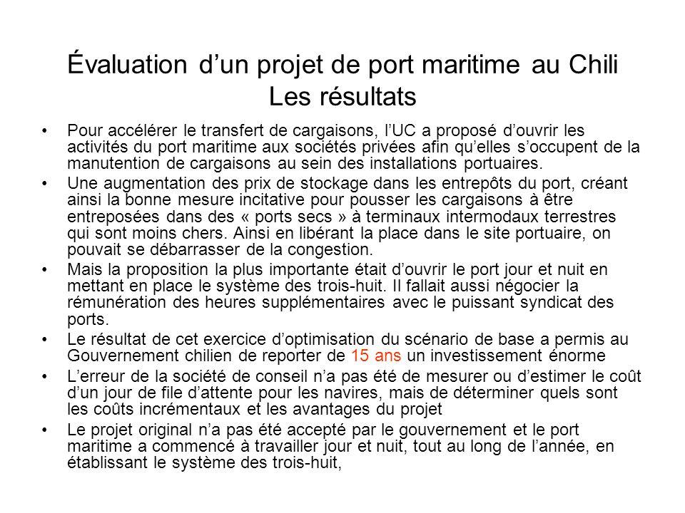 Évaluation dun projet de port maritime au Chili Les résultats Pour accélérer le transfert de cargaisons, lUC a proposé douvrir les activités du port maritime aux sociétés privées afin quelles soccupent de la manutention de cargaisons au sein des installations portuaires.