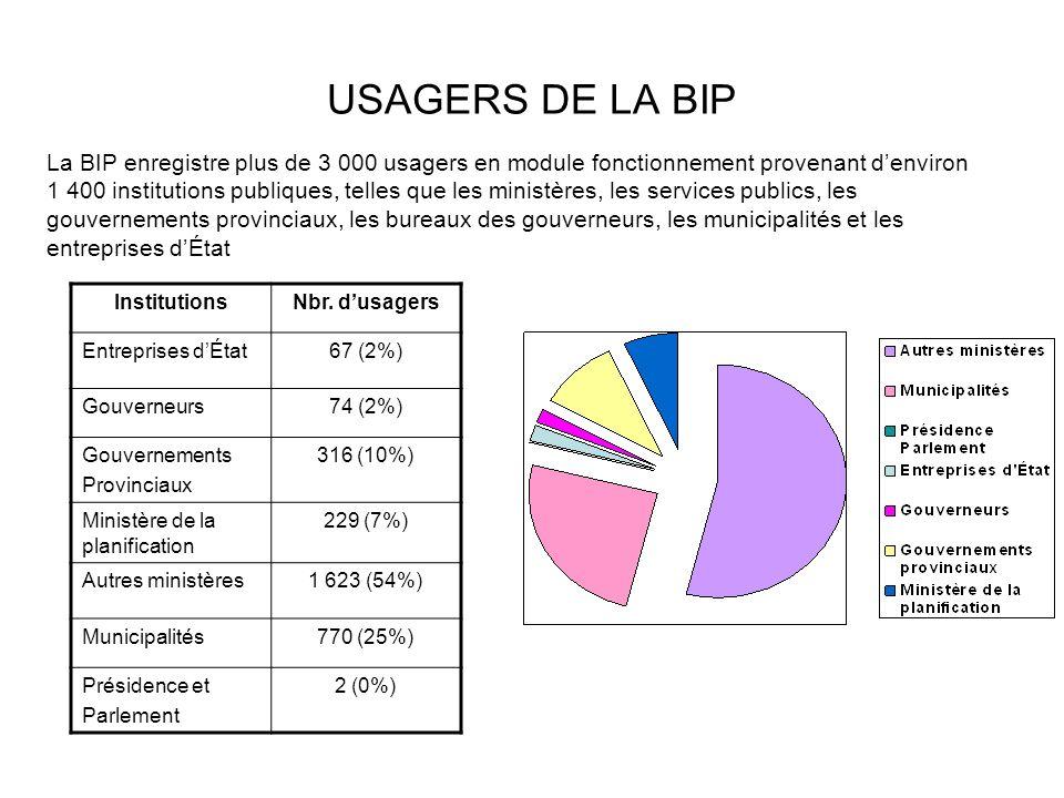 USAGERS DE LA BIP InstitutionsNbr. dusagers Entreprises dÉtat67 (2%) Gouverneurs74 (2%) Gouvernements Provinciaux 316 (10%) Ministère de la planificat