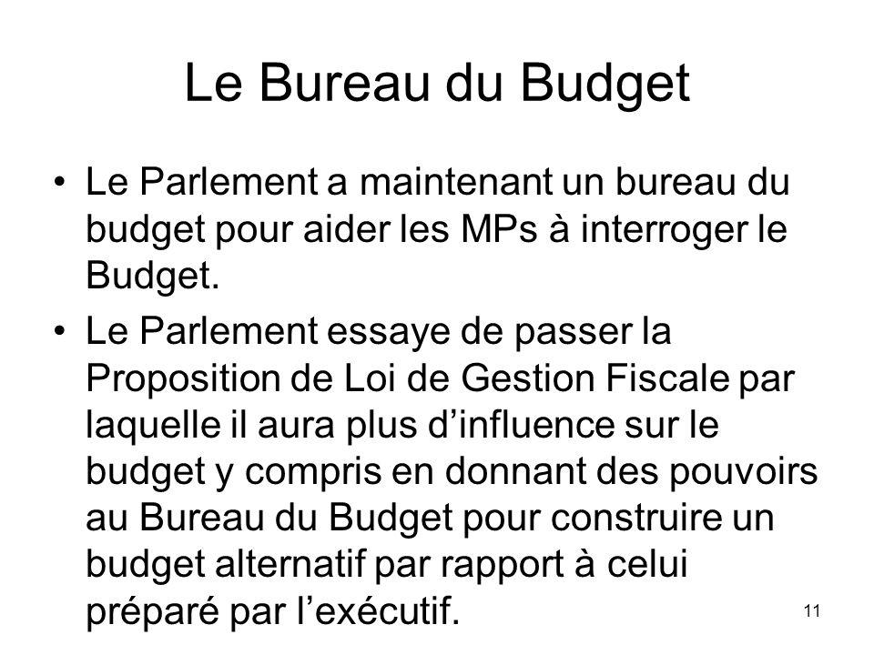 Le Bureau du Budget Le Parlement a maintenant un bureau du budget pour aider les MPs à interroger le Budget.