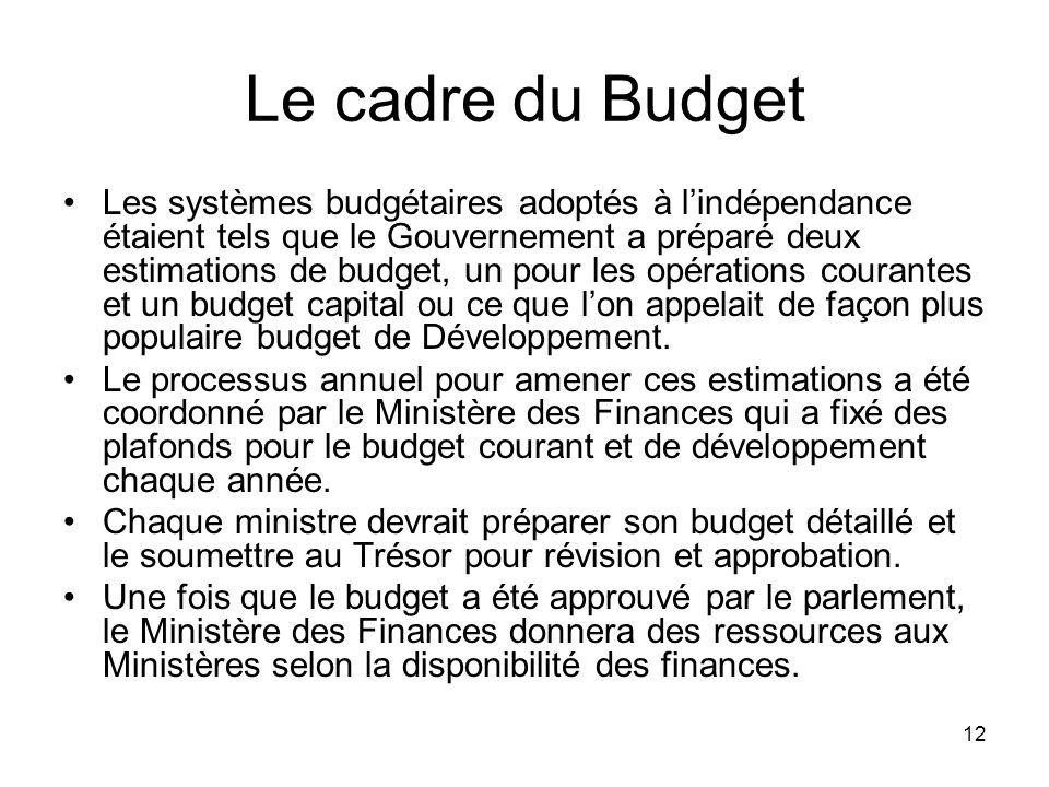 Le cadre du Budget Les systèmes budgétaires adoptés à lindépendance étaient tels que le Gouvernement a préparé deux estimations de budget, un pour les opérations courantes et un budget capital ou ce que lon appelait de façon plus populaire budget de Développement.