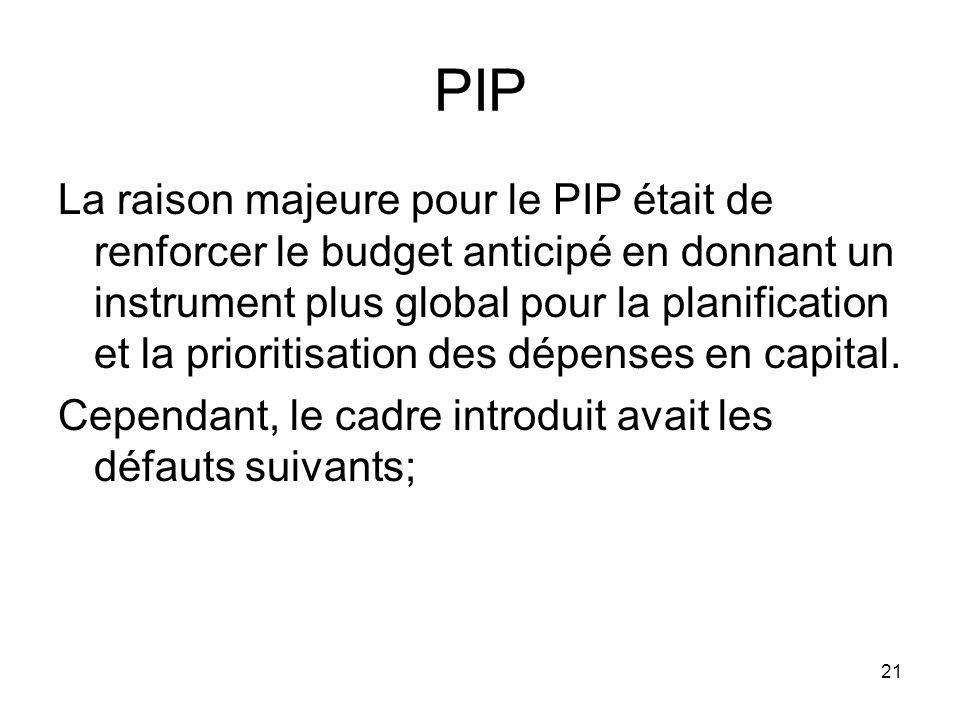 PIP La raison majeure pour le PIP était de renforcer le budget anticipé en donnant un instrument plus global pour la planification et la prioritisation des dépenses en capital.