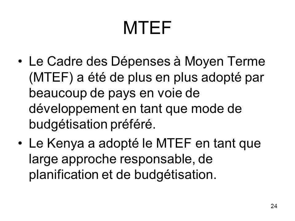 MTEF Le Cadre des Dépenses à Moyen Terme (MTEF) a été de plus en plus adopté par beaucoup de pays en voie de développement en tant que mode de budgétisation préféré.