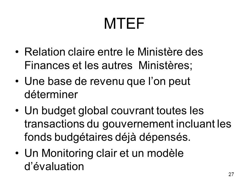 MTEF Relation claire entre le Ministère des Finances et les autres Ministères; Une base de revenu que lon peut déterminer Un budget global couvrant toutes les transactions du gouvernement incluant les fonds budgétaires déjà dépensés.