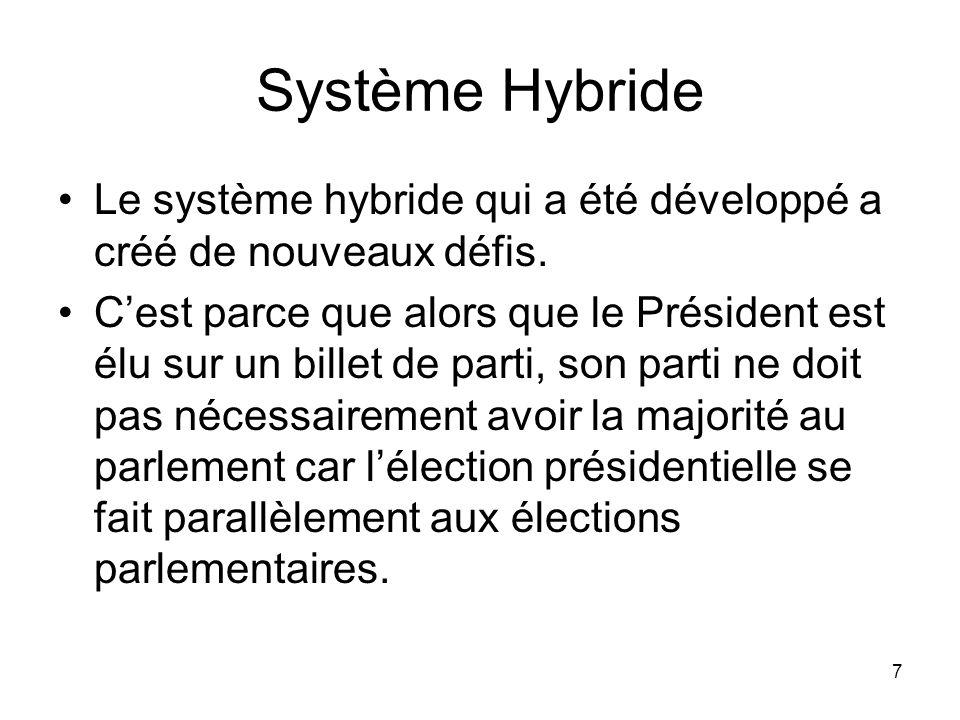 Système Hybride Le système hybride qui a été développé a créé de nouveaux défis.