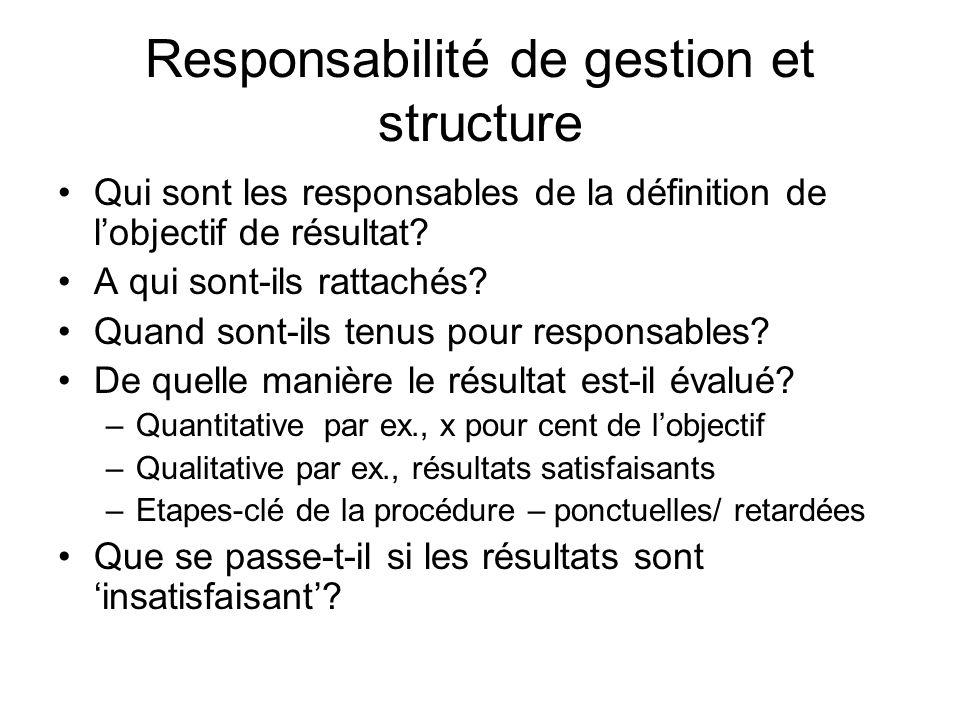 Responsabilité de gestion et structure Qui sont les responsables de la définition de lobjectif de résultat? A qui sont-ils rattachés? Quand sont-ils t